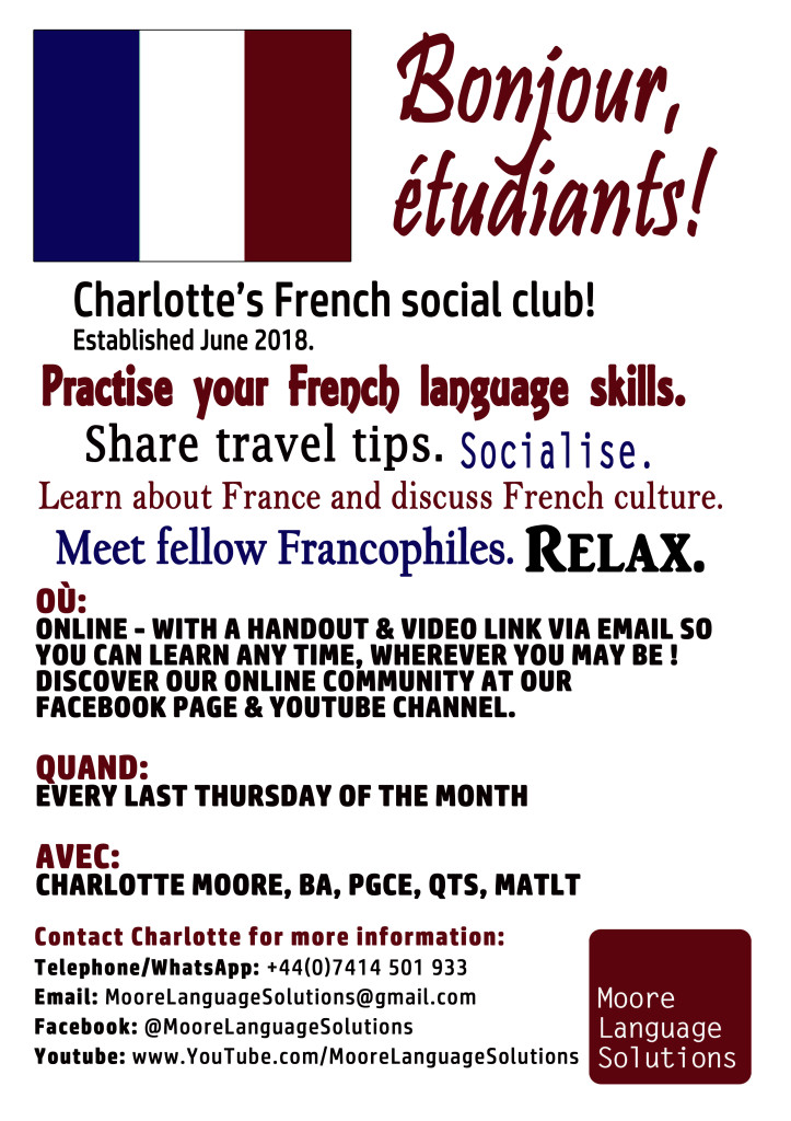 French Club Online poster 2021