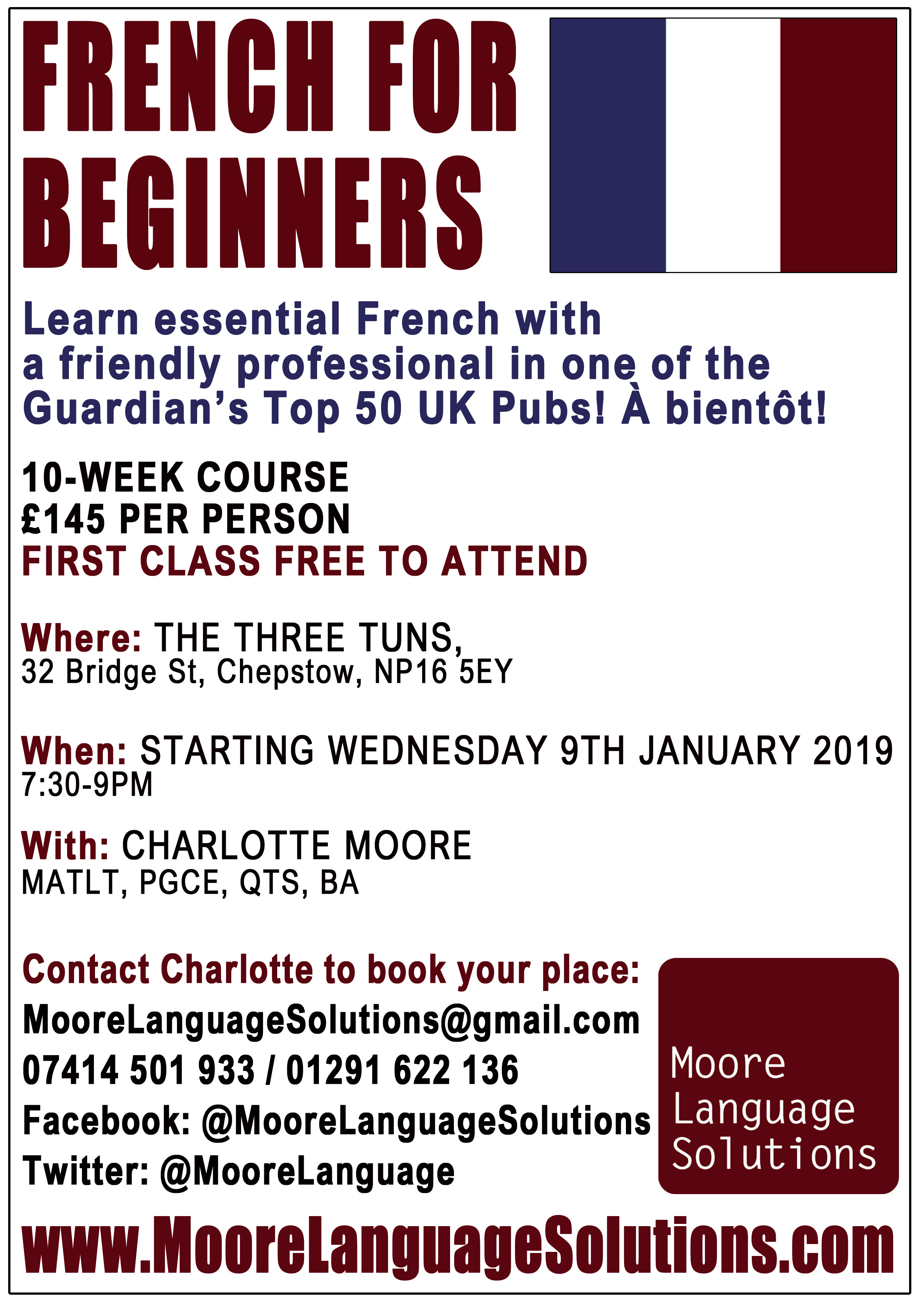 Learn French with Charlotte in January 2019!