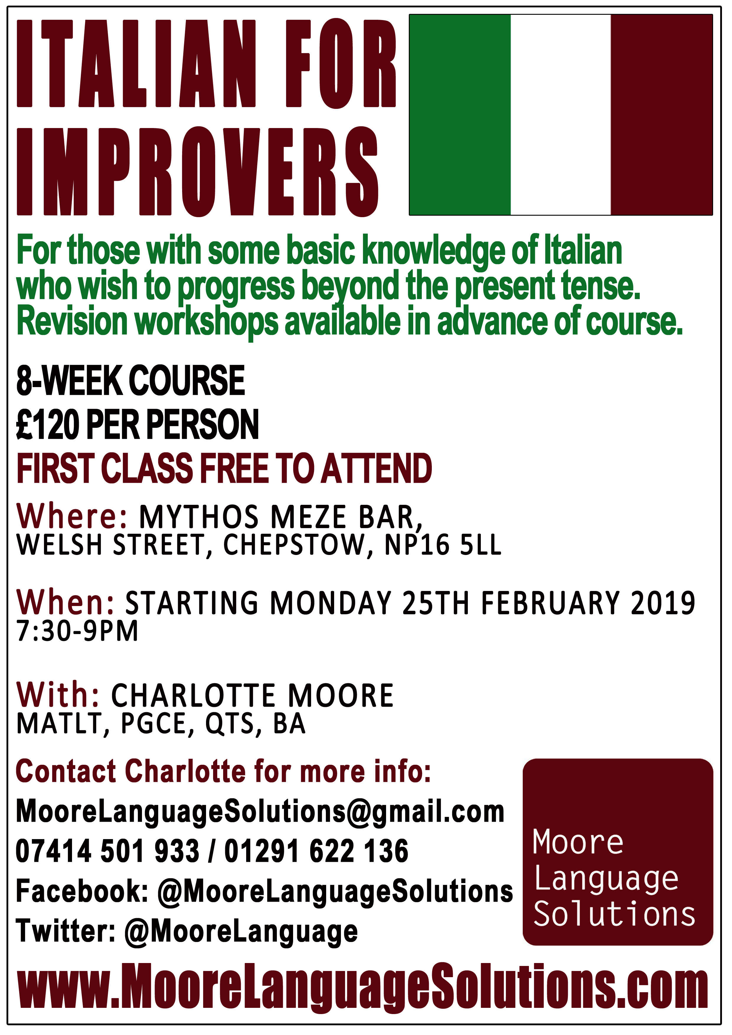 Italian for Improvers Chepstow Spring 2019